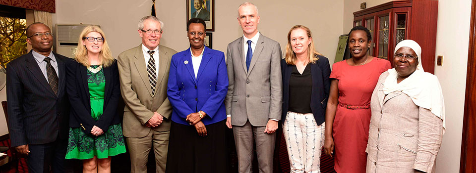 First Lady and Minister of Education and Sports Janet Museveni  with Irish Ambassador Donal Cronin and his spouse Suzan Fraser and the PA to the Ambassador Justine Niyinzima on her right  and Irish Embassy Head of Cooperation Frank Kirwan and Second Secretary Frances Collins on her left plus officials from the Ministry of Education at State House Nakasero on Monday 17/07/2017PHOTOS BY PPU/ENOCK KAKANDE