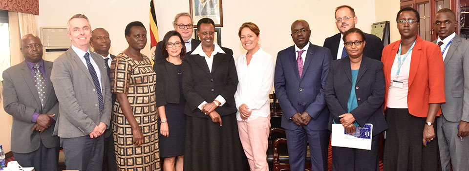 First Lady and Minister of Education and Sports Mrs.Janet Museveni with officials from ECW, INEE, Save the Children, UNHCR, UNICEF and the Education Ministry after meeting at State House Nakasero. Next to the First Lady on the left is Yasmine Sherif the Director of ECW and next to her is the Permanent Secretary Ministry of Education Alex Kakooza