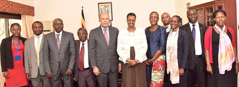 First Lady and Minister of Education and Sports Mrs. Janet Museveni with the Adviser to the Education Commission Dr. Omari Issa Mbaraka (on her left) and other members of the delegation from Tanzania  plus Senior Officials from the Ministry of Education. Third from the left is Education Ministry Permanent Secretary Alex Kakooza