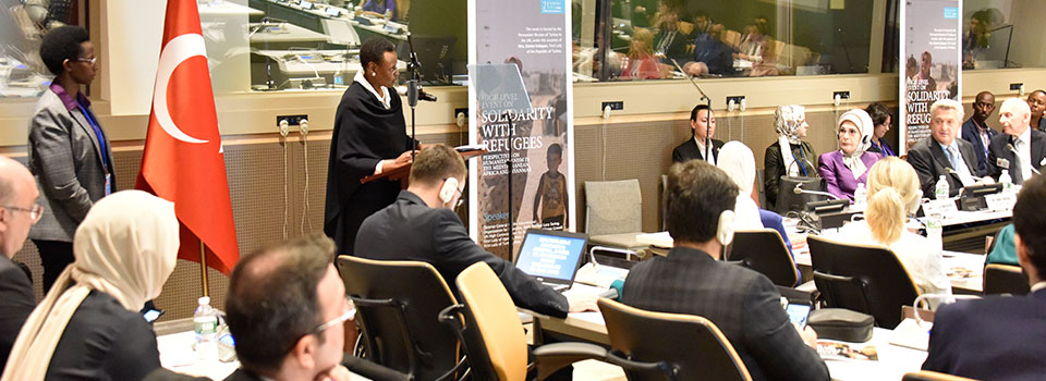 "First Lady and Minister of Education and Sports Mrs. Janet Museveni addresses a high-level meeting on ""Solidarity with Refugees"" on the sideline of the 72nd United Nations General Assembly in New York."