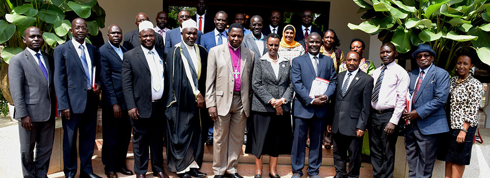 First Lady and Minister of Education and Sports Mrs. Janet Museveni with the members of the Inter-Religious Council of Uganda after their meeting at State House Nakasero on Wednesday