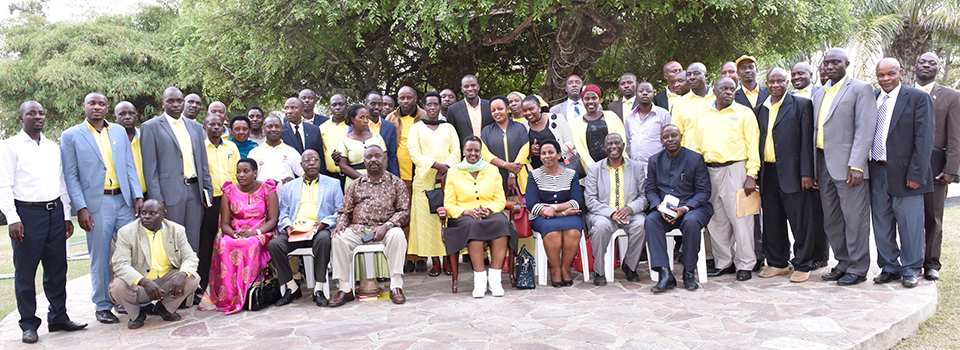 First Lady and Minister of Education and Sports Mrs. Janet Museveni with the NRM leaders from Ruhaama at Rwakitura after their meeting to plan for the forth coming by-elections for the MP Ruhaama.