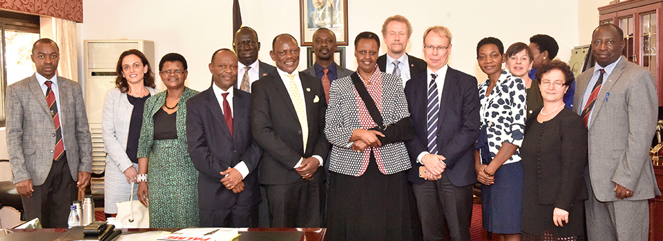 First Lady and Minister of Education and Sports Mrs. Janet Museveni  together with H.E Ambassador of Sweden to Uganda Per Lindgarde on her right, officials from Karolinska Institute in Sweden, Makerere University Ministry of Health and Ministry of Education and Sports after their meeting at State House to discuss establishment of a centre for non-communicable diseases at Makerere University