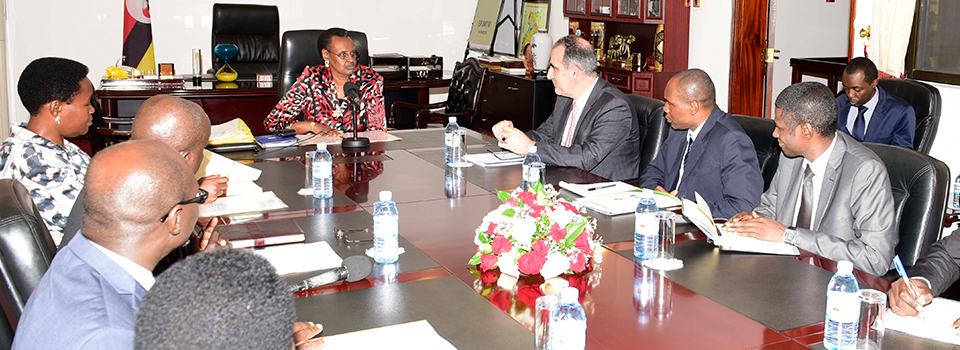 First Lady Janet Museveni and Minister of Education and Sports at State House Nakasero meeting Dr. Walid Addelwahab, Director General , Country Relations and Services, Dr. Issahaq Umar Iddrisu, IDB Country manager for Uganda and Mr. Bah Aly Bah, IDB Country manager Cameroon and Gabon