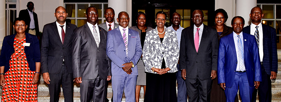 Mrs Janet Museveni Meeting Pro.Nawangwe Chanc.Makerere University and Team at State House Entebbe