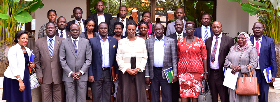 First Lady and Minister of Education and Sports with leaders from Nwoya District, Technocrats from the Ministry of Education and Sports and representatives from other Ministries and the Private Sector Foundation after the meeting that validated and approved the establishment of an Agro-Processing Centre of Excellence in Nwoya District.