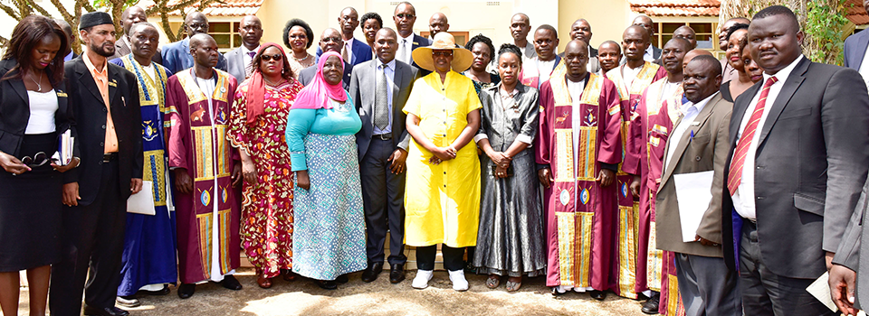 First Lady and Education Minister Janet Museveni poses for a photo with cultural leaders and other  stakeholders during celebrations to mark International Day of the girl Child in Jinja