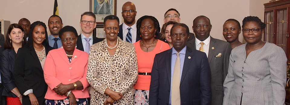 First Lady Mrs Janet Museveni with State Minister for Primary Health  Care Dr Joyce Moriku on her right and Dr Imelda Namagembe President of the Association of Obstetricians and Gynecologists of Uganda on her left together with the visiting delegation from the American College of Obstetricians and Gynecologists after their meeting at State House Nakasero last week.