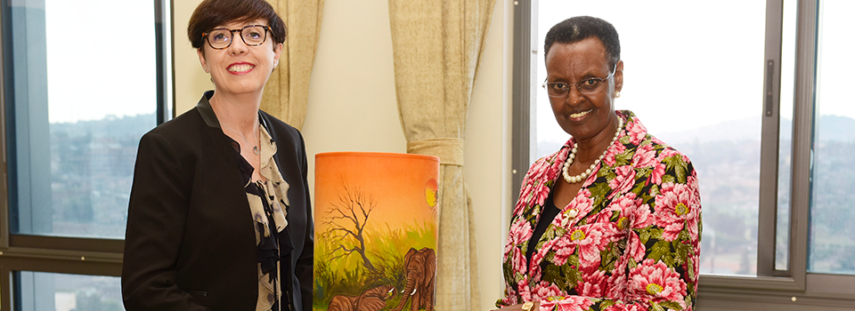 First Lady and Minister for Education and Sports, Janet Museveni meeting H.E Stéphanie Rivoal, the outgoing Ambassador of France to Uganda at her the office of the President.
