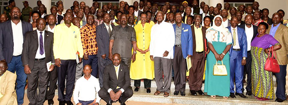Ntungamo delegation meets President Yoweri Museveni and First Lady/Minister of Education and Sports  Janet Museveni at State House Entebbe.