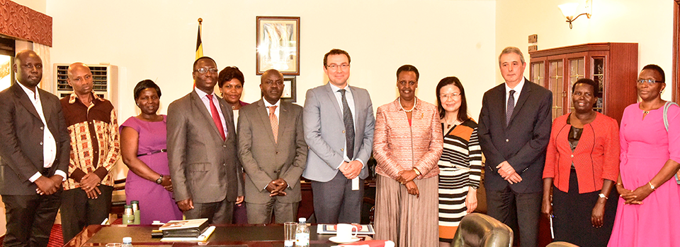 First Lady and Minister of Education poses for a photo with officials from the World Bank and ministry of education officials after a meeting at Nakasero. Friday June 7, 2019. PPU Photo (1)