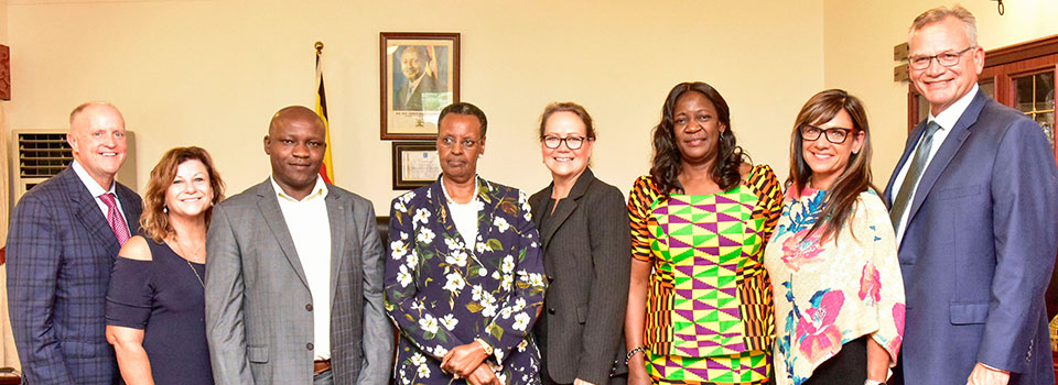 First Lady Janet Museveni (C) shares a photo moment with a delegation from Living Water International during a meeting at Nakasero State House on Tuesday July 15, 2019. (R) is the organisation's president Dr. Mike Mantel.