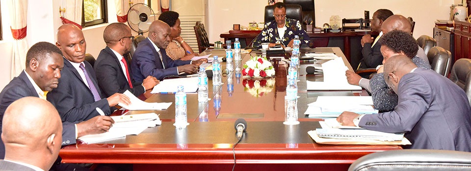 First Lady Janet Museveni and Minister of Education and Sports chairs an inter-ministerial meeting on Namboole Stadium land issues at Nakasero on Tuesday July 16, 2019. Meeting was attended by ministers of Finance, Lands and Education.