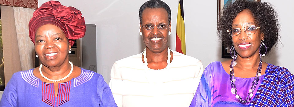 From left: Prof. Sheila Tlou UNAIDS Global Ambassador , First Lady and Minister of Education and Sports Mrs. Janet Museveni and UNAIDS Country Representative in Uganda Karusa Kirago- Gikonyo  after their meeting at State House Nakasero. PHOTO by Ronnie Kijjambu